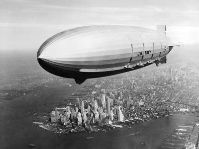 USS Macon in Flight over Lower New York City