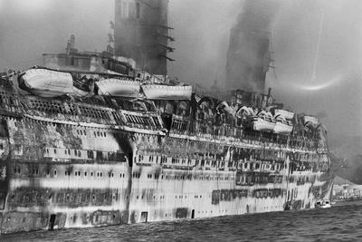 Gutted Hull of Oceanliner, Qn. Elizabeth