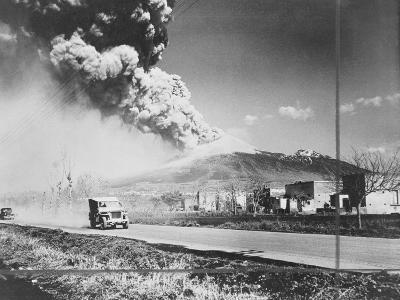 View of Mt Vesuvius Erupting