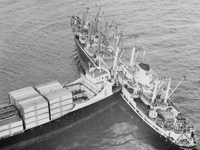The Ship Trans Hawaii Ramming into a Freighter