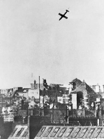 V-1 German Missile over English Town 1944