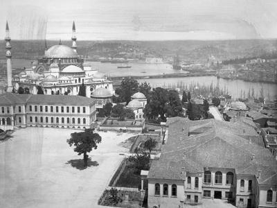 Aerial View of Istanbul along Harbor
