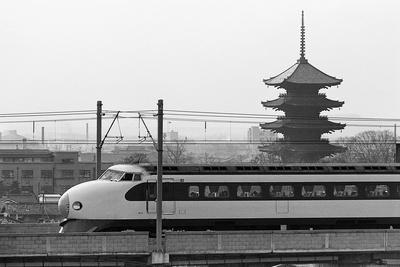 Bullet Train Running past Pagodas