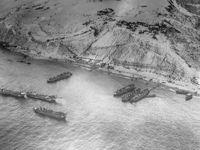 Aerial View of Military Ships