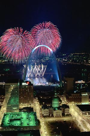 St. Louis Gateway Arch with Fireworks