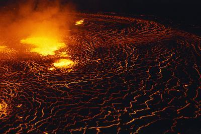 Night View of Boiling Lava from Volcanic Eruption