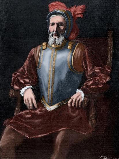 Miguel Lopez De Legazpi 1503 1572 Engraving Colored