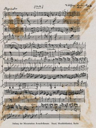 Sheet Music with Mozart's Signature