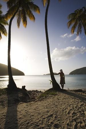 Woman Standing on Beach on Maho Bay