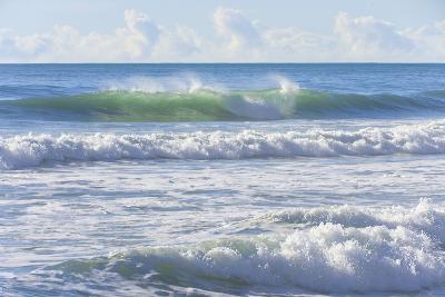 Tide Waves of Pacific Ocean Rolling toward Shore