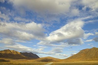 Cumulus Clouds above Tundra and Mountains in Denali National Park