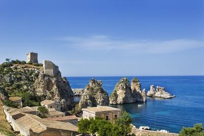 View of Tonnara Di Scopello, Castellammare Del Golfo, Sicily, Italy