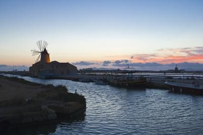 Windmill and Saltworks at Dusk , Marsala, Sicily, Italy