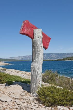 Sign on Beach, near Vrboska, Hvar Island, Croatia