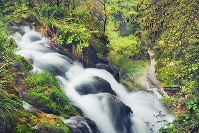 Waterfall in Mountain Brook, Plitvice Lakes National Park, Lika-Senj, Croatia