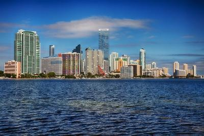 Miami Skyline with Puffy Clouds