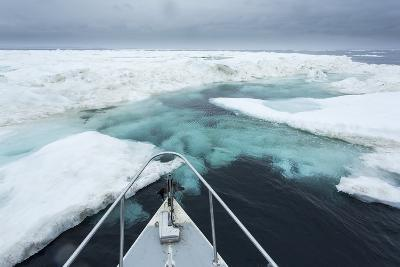 Expedition Boat and Sea Ice, Hudson Bay, Nunavut, Canada