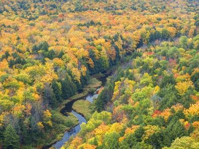 A View from the Summit Peak of the Big Carp River in Autumn at Porcupine Mountains Wilderness State