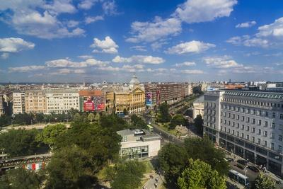Pest, Belvaros, St. Stephen's Basilica, Erzsebet Square and the Town from the Panoramic Wheel