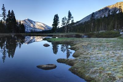 Early Morning Light Reflected on the Calm Waters of an Alpine Tarn in the Sierra Nevada Mountains W