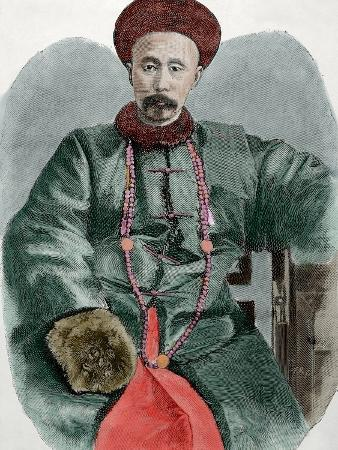 Li Hongzhang (1823-1901). Politician of the Late Qing Empire. Engraving, 1892. Colored.