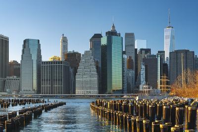 The Lower Manhattan Skyline from Brooklyn Bridge Park, New York City.