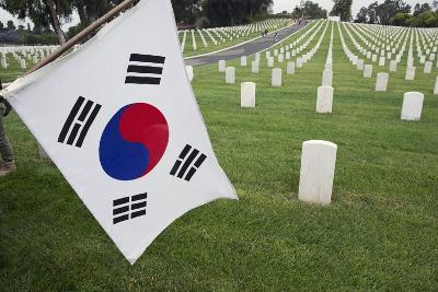 South Korean Flag Hanging at 2014 Memorial Day Event, Los Angeles National Cemetery, California, US