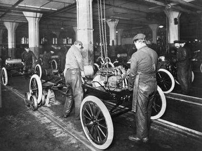 Model T Being Assembled in Ford Plant