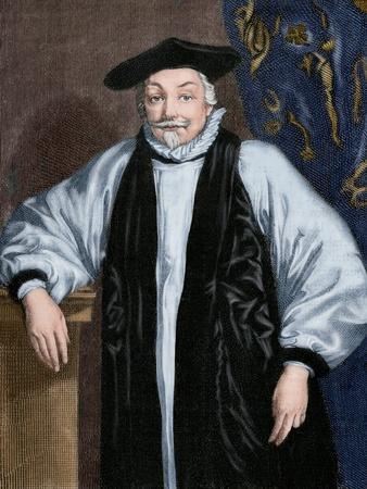 William Laud (1573-1645). Engraving. Colored.