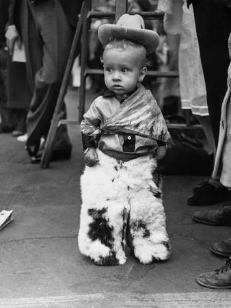 Boy (2-3) Wearing Fur Pants
