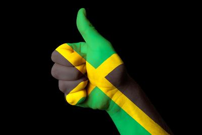 Jamaica National Flag Thumb Up Gesture For Excellence And Achievement Made With Hand