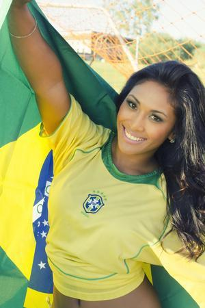 Happy Smiling Brazil Soccer Football Fan.... (Brazil World Cup Finals 2014)