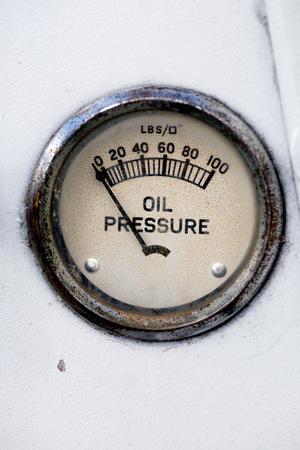An Old Retro Steampunk Style Oil Pressure Gauge