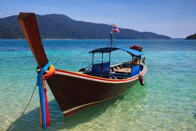 Long Tail Boat Sit On The Beach Rawi Island Thailand