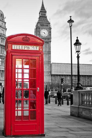 A Traditional Red Phone Booth In London With The Ben Black And White Background