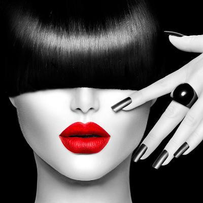 Black and White High Fashion Model Girl Portrait with Trendy Hair Style, Make Up and Manicure