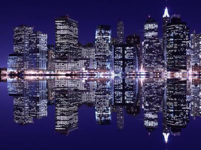 New York City Skyline at Night Light, Lower Manhattan