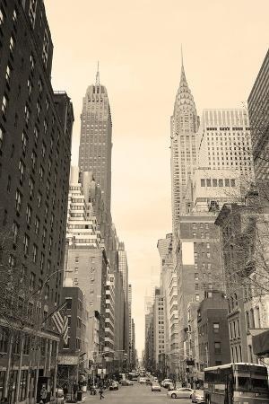 New York City Manhattan Street View with Chrysler Building Skyscrapers and Busy Traffic Black and W