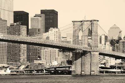 Old Fation Style New York City Brooklyn Bridge in Manhattan Closeup with Skyscrapers and City Skyli