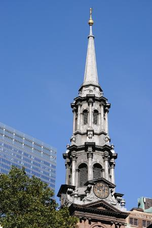 Clock Tower at St. Paul's Chapel in Lower Manhattan, New York City.
