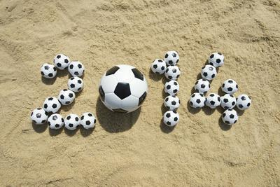 Brazil 2014 Soccer Football World Cup Message on Sand