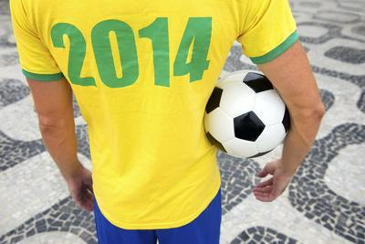 Brazilian Soccer Football Player Wears 2014 Shirt