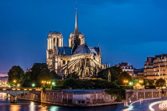 Notre Dame De Paris Cathedral Night View Photographic
