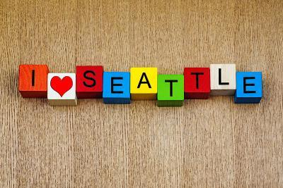 I Love Seattle, Washington, Usa - Sign Series for Travel Locations and Holiday Destinations
