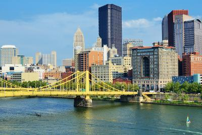 Roberto Clemente Bridge and Skyscrapers in Downtown Pittsburgh, Pennsylvania, Usa.