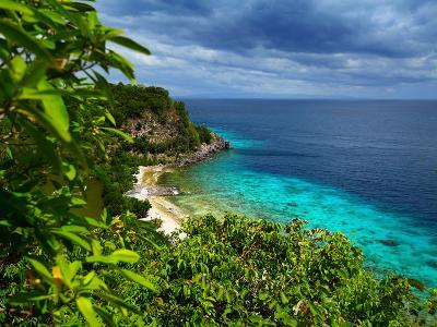 Tropical Green Island and Blue Sea with Coral Reef. View from Top of a Mountain to Apo Reef Natural