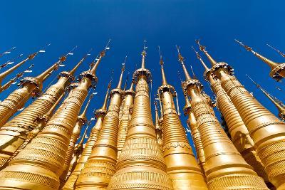 Golden Stupas of Shwe Indein Pagoda over Blue Sky. Indein Village, Inle Lake, Shan State, Myanmar (