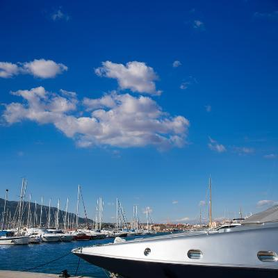 Denia Alicante Marina Boats in Blue Mediterranean Spain