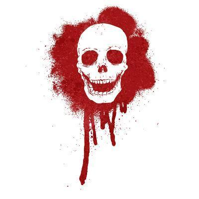 Graffiti Skull Blood Red
