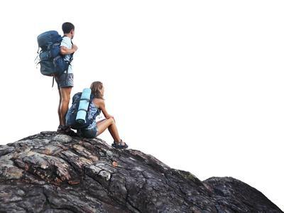 Two Hikers with Backpacks on Top of a Mountain Isolated on a White